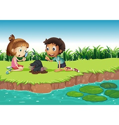 Boy and girl having fun in the park vector