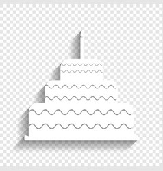 cake with candle sign white icon with vector image