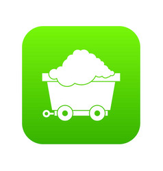 cart on wheels with coal icon digital green vector image