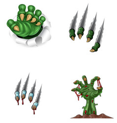 Cartoon monster claw ripping through with zombie h vector