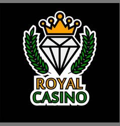 Casino poker template icon royal golden vector
