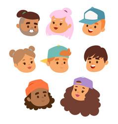children face portrait kids character girls vector image
