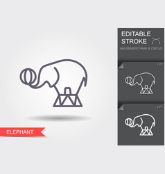 circus elephant line icon with editable stroke vector image