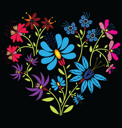 Color folk floral pattern in heart shape on black vector image