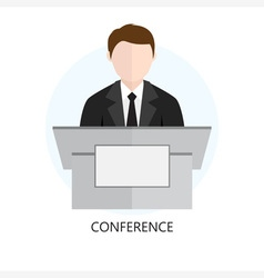 Conference Icon Flat Design Concept vector image