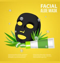 cosmetic facial sheet aloe mask card or poster vector image