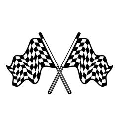 Crossed pair of waving checkered flags vector