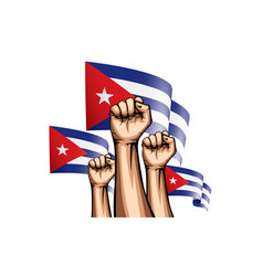 Cuba flag and hand on white background vector
