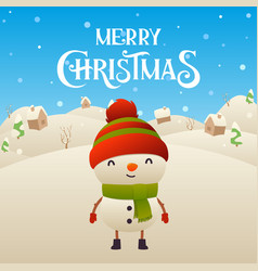 cute cartoon snowman character merry christmas vector image