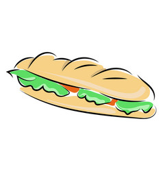 delicious sandwich on white background vector image