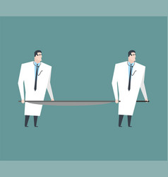 doctors carry empty stretchers medicine vector image