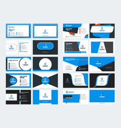 Double sided business card templates blue color vector