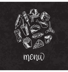 Fast food menu Set of icons on the vector