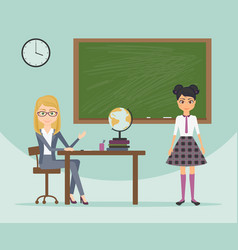 Female teacher and schoolgirl in school uniform vector