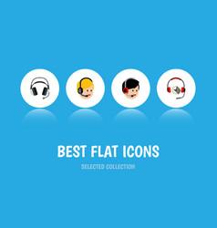 Flat icon call set of operator call center vector