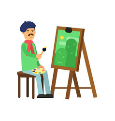 Flat profession artist painting green landscape vector