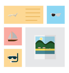 Flat season set of yacht spectacles reminders vector
