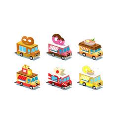 flat set of isometric food trucks vans vector image