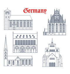 Germany landmark buildings cathedrals churches vector