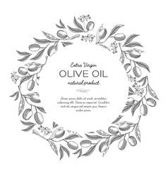 Green olives round wreath sketch composition vector