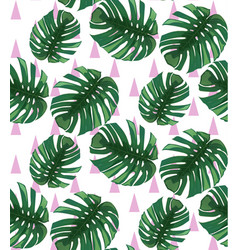 Green tropical leaves pattern backgrounds vector
