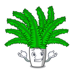 Grinning beautiful cartoon ferns in green foliage vector