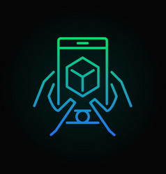 Hands with smart-phone linear colored ar concept vector