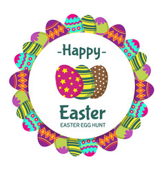 happy easter round banner with coloring eggs vector image