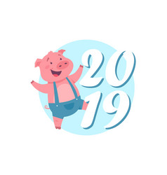 happy new year 2019 - modern cartoon character vector image