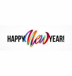 happy new year lettering on background with a vector image