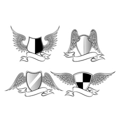 Heraldic shields with wings vector