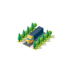 isometric front left view truck vector image