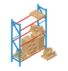 Isometric racks with pallet and box vector