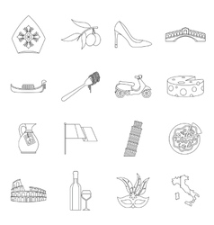 Italia icons set outline style vector
