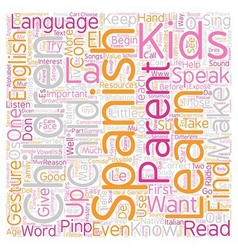 Kids Can Learn Spanish text background wordcloud vector