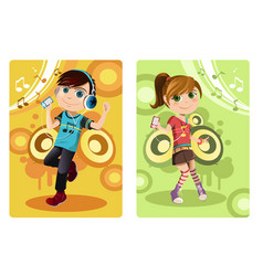 Kids listening to music vector