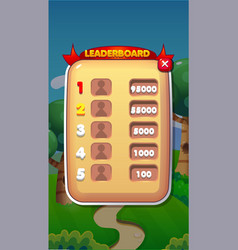 leaderboard mobile game user interface gui assets vector image