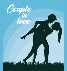 Leaning over couple design vector