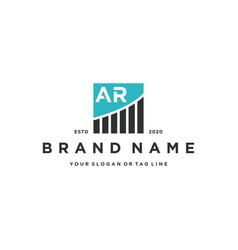 Letter ar chart financial logo design vector