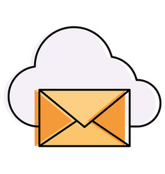 mail envelope with cloud computing vector image
