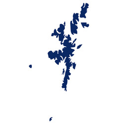 Map shetland islands in blue colour vector