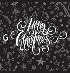merry christmas greeting handwriting scrip vector image