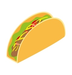 Mexican taco isometric 3d icon vector image