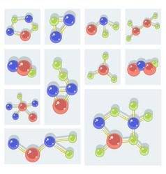 molecule icons set vector image