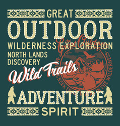 Moose creek outdoor wildlife exploration adventure vector