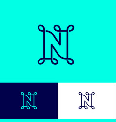 N letter monogram loops network icon on different vector