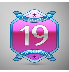 Nineteen years anniversary celebration silver logo vector image
