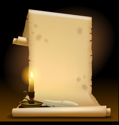 old parchment with a candle light and feather vector image