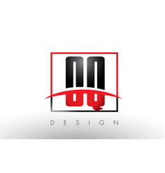 oq o q logo letters with red and black colors and vector image