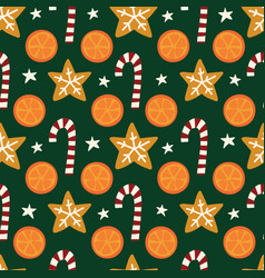oranges cookies candy canes seamless vector image
